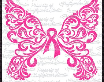Filigree Awareness Butterfly SVG Swirly Butterfly SVG Cancer Butterfly SVG cut file for Cricut Silhouette Scan N Cut Commercial Use