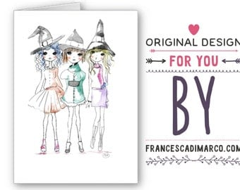Halloween handmade greeting cards - Instant download