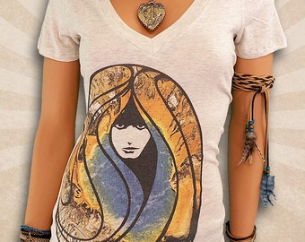 Vintage Hippie Shirts - Retro 1969 WoodStock Clothing - Cute Deep V-Neck T Shirts - Scoop Neck T Shirt