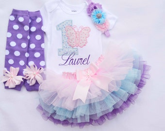 first birthday outfit girl,Butterfly Birthday Outfit,Pink Blue purple birthday outfit,cake smash outfit girl,1st Birthday Girl Outfit,Al 4pc