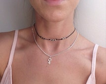 The Goddess necklace ~ Venus charm necklace on 14 inch silver plated chain.