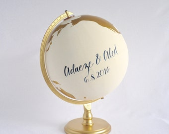 "Wedding Guestbook Globe, Painted Globe, World Globe, Custom Color and Quote Guest Well Wishes Wedding Guestbook and/or Home Decor 12"" large"
