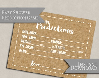 Baby Predictions Printable Card, Rustic burlap effect, baby shower prediction cards, printable rustic style cards for baby showers, instant