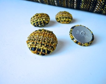 Buttons made from my  Gold Handwoven Fabric