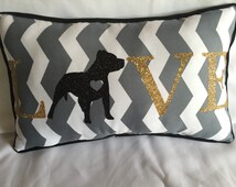 Decorative pillow, LOVE, with any dog breed, pitbull, chihuahua, spaniels, rotweiler , poodle, yorkie, schnauzer, shepherds , etc.