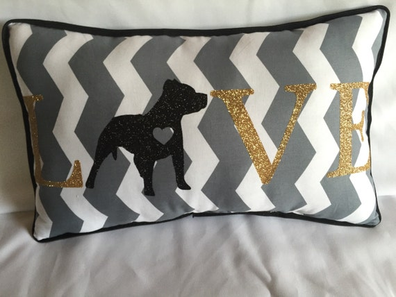 Decorative pillow LOVE with any dog breed pit bull
