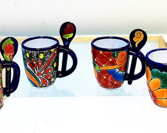 Imported Mexican Hand made Talavera ceramic coffee mugs with spoon.