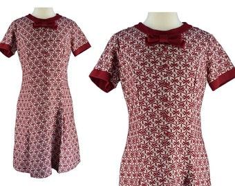 Vintage Dress, 1960s Dress, 60s Dress, Burgundy Scooter Dress, Novelty Print Dress, Mod Scooter Dress, Vintage Shift Dress, Day Dress, Large