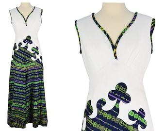 Vintage Dress, 1970s Dress, 70s Dress, White Vintage Dress, Psychedelic Maxi Dress, Abstract Print, Hostess Dress, Long Formal Dress, Medium