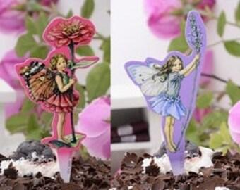 Set of 12 Fairy Cupcake Topper Picks Pink and Purple Birthday Celebration