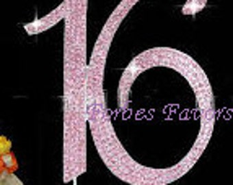 Large Sweet Sixteen Real Rhinestone Pink Cake Topper by Forbes Favors