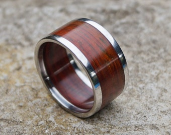 Titanium and padouk wood ring