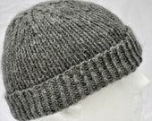 Hand Knit Gray Alpaca Hat. Toque, beanie, watch cap, ski cap, or winter hat in natural gray alpaca.