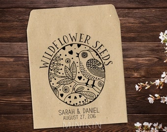 Wildflower Seed Packet, Wedding Seed Packet, Personalized Favor, Rustic Wedding, Bird Seed Favor, Let Love Grow, Seed Packet Favor x 25