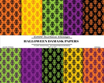 Halloween Damask Digital Papers, Premade Pages, Instant Download