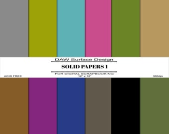 Solid Papers 1, Premade Pages, Instant Download