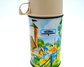 Vintage King Seeley Thermos, Pets and Pals, Farm Scene with Horses, Children, Dog and Barn, 1960s Water Bottle