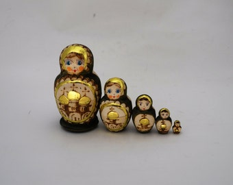 "5 Pcs Nesting Doll "" Russian Doms"" 3 3/4"" Tall"