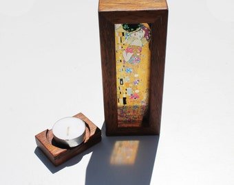 Gustav Klimt The Kiss Translucent Handmade Lightbox with tealight candle holder