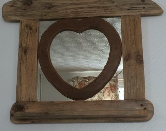 Driftwood mirror with heart shape  75 x 62 cms
