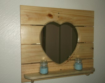 driftwood heart mirror with display shelf  unique design