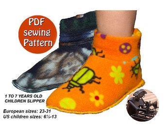 Big Kid Slipper Pattern PDF tutorial Instant download sewing pattern for children Polar fleece slippers Sizes 61/2 to 13 Canadian seller