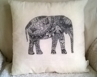 Handmade Elephant Mandala Pillow/cushion/throw pillow 37x37 cm ecru