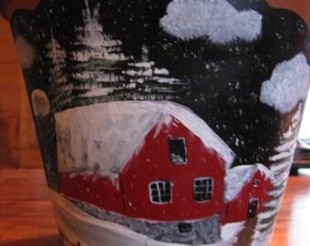 Barn Winter Scene Painted Flower Pot Clay Pot Handpainted
