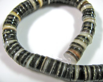 Black Lip shell heishi, 6 and 1 half inch strand, 8mm, 1mm beading holes, vintage heishi, Jewelry supply -  B 412