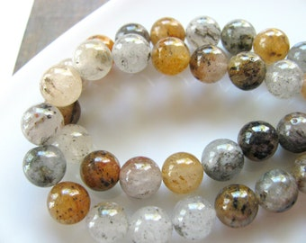 Moss Agate, 25 beads, earthy colors, 8mm - #376