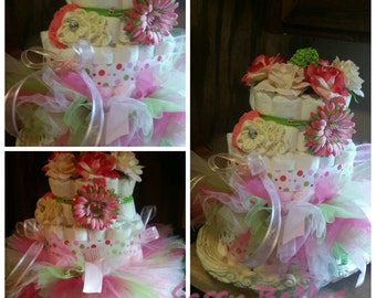 Diaper cake. With tutu set and headbands.