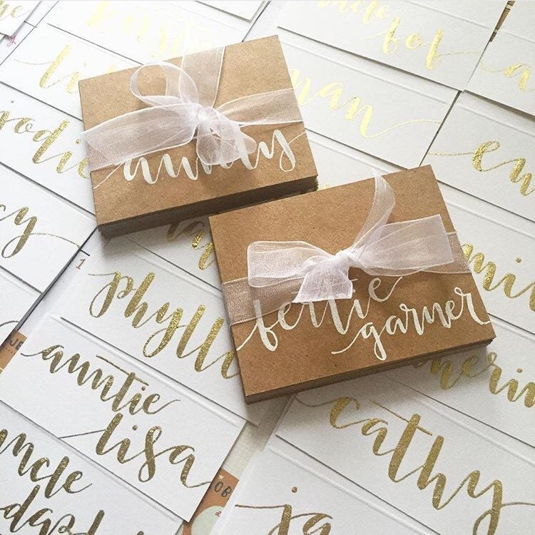 Hand written calligraphy place cards wedding by bonjourlauraj