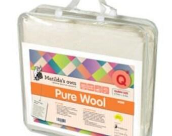 Pure Wool batting, medium loft,Maltilda's own, Queen size