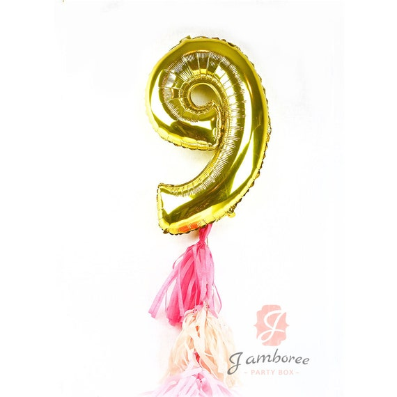 """CLOSEOUT SALE Large 30"""" Gold Number 9 Air Only Balloon,  Ninth Birthday Balloon, Gold Balloon 9th Birthday, Number Nine Balloon Ninth"""