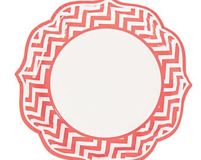"8pc Coral 10""  Chevron Dinner Plate, Coral Wedding Plate, Coral Pink Chevron Dinner Plate, Coral and White Dinner,  Wedding Paper Plate"