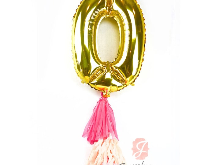 """CLOSEOUT SALE Large 30"""" Gold Number 0 Air Only Balloon, Birthday Balloon, Gold Birthday Balloon, Number Zero Balloon, Gold Birthday Decor"""