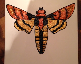Ceramic Tile Painting, Original. Deaths head hawk moth gold and bronze bug creepie crawley insect plaque