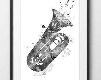 Tuba Print Black and White, Tuba Watercolor Poster, Music Art Print, Music Wall Art, Music Instrument Poster, Tuba Decor, Tuba Art (A0448)