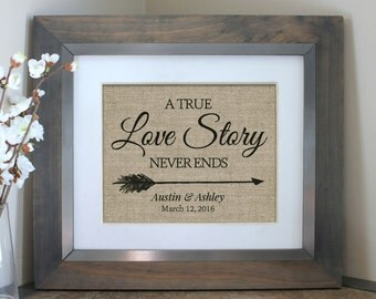 Personalized Burlap Wedding Shower Gift   True Love Gift   Makes an excellent bridal shower gift or wedding present!