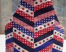 Handmade Insulated Wine/ Bottle Tote, Stars and Stripes Pattern