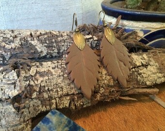 Hand tooled brown leather leaf earrings - perfect for FALL