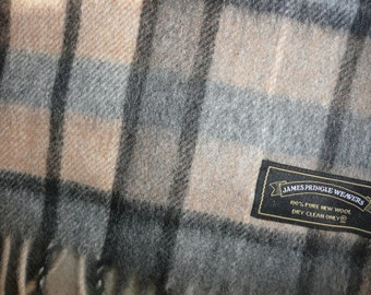 James Pringle Weavers 100%  Wool Scarf  Plaid