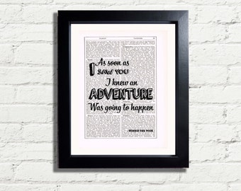 Winnie The Pooh Bear Inspirational Quote As Soon As I Saw You I Knew An Adventure Was Going To Happen INSTANT DIGITAL DOWNLOAD Printable A4