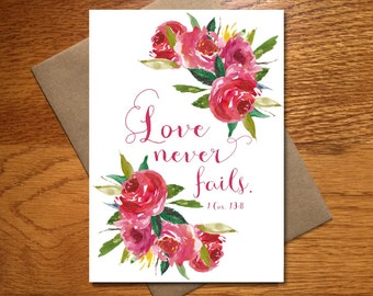 Love Never Fails Card / Every Day Spirit / Scripture Wedding Card / Watercolor Scripture Card / Engagement Card / Valentine Love Card / 5x7