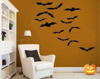 Halloween Decor, Bat Decal Set, Bat Wall Decals, Halloween Decorations, Halloween Wall Decals, Halloween Bats, Bat Vinyl Decals, Wall Decals