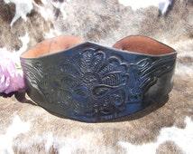 Vintage Black Tooled Leather Corset Waist Belt
