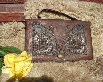 Antique Art Nouveau Tooled Leather Purse by J.B. Rice Co