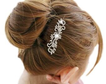Flower Hair Comb,Wedding Hair Comb,Bridal Hair Comb, Swarovski Crystal Clear,Side Hair Comb,Hair Comb Piece, Wedding Hair Accessory-10377