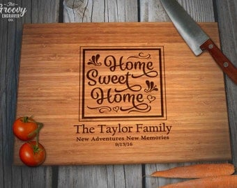 House Warming Custom Engraved Bamboo Cutting Board, Couples Family Home Sweet Home Personalized Gift, Caramel or Natural, Custom Gifts