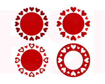 Valentine monogram svg, Monogram Frame svg, SVG, DXF, EPS,  for use with Silhouette Cameo and Cricut Explore. Heart svg, Love svg.